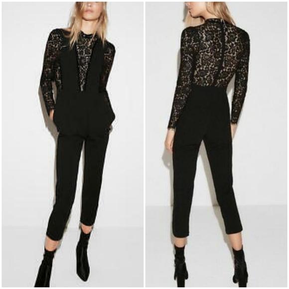 Express Pants - Express Pieced Lace Jumpsuit, Size 2P